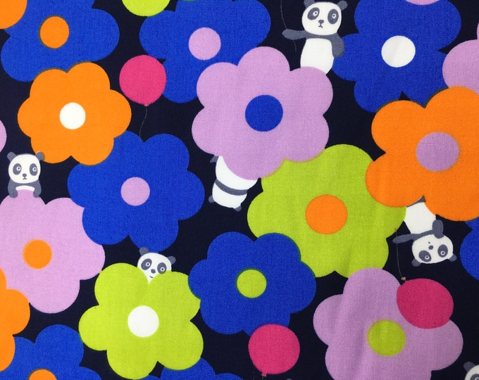 High quality cotton poplin with floral and panda kawaii print on navy
