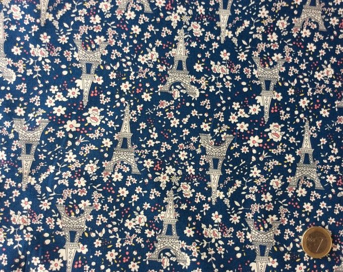 High quality cotton fabric printed in Japan, Eiffel Tower