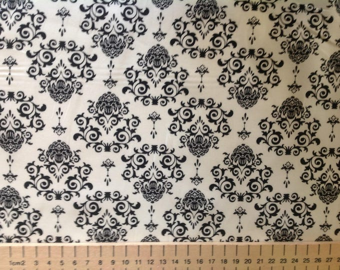 High quality cotton poplin printed in Japan, white/black wallpaper style print
