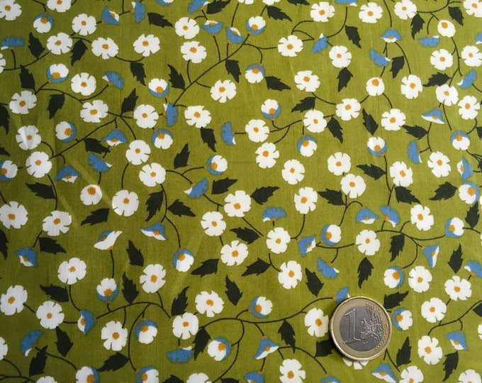 English Pima lawn cotton fabric, priced per 25cm. Forest