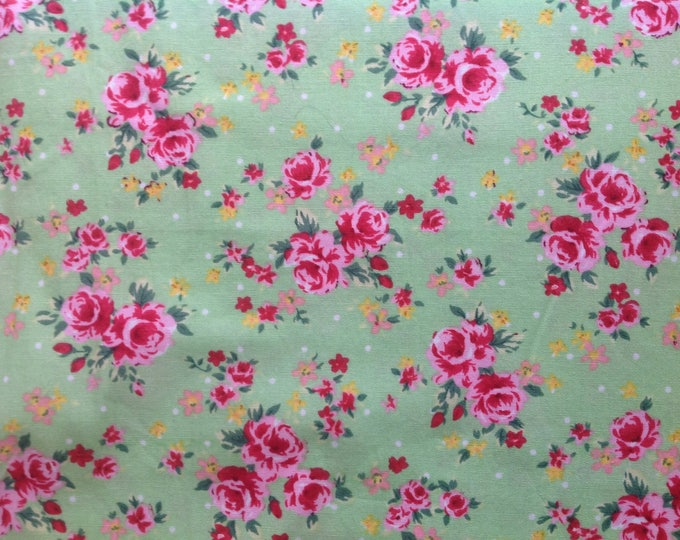 High quality cotton poplin, roses print on green