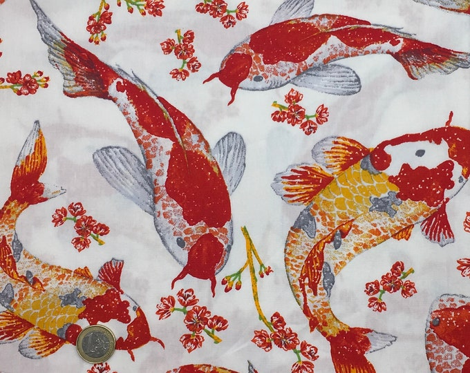 High quality cotton poplin printed in Japan, carpes koi on white