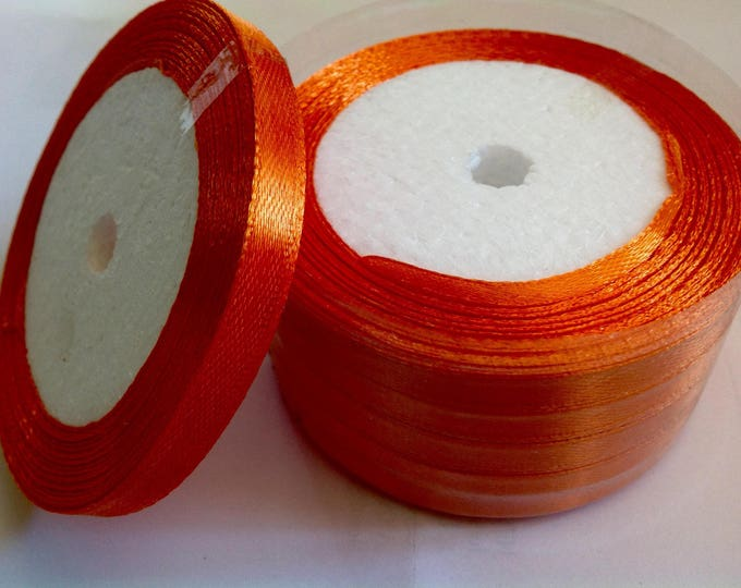 Roll of 22.5m of satin ribbon single face, orange no24