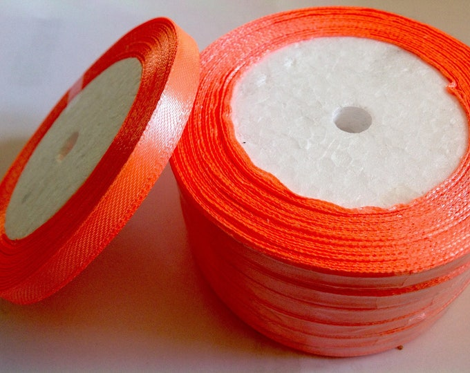 Roll of 22.5m of satin ribbon single face, light coral fluo no22