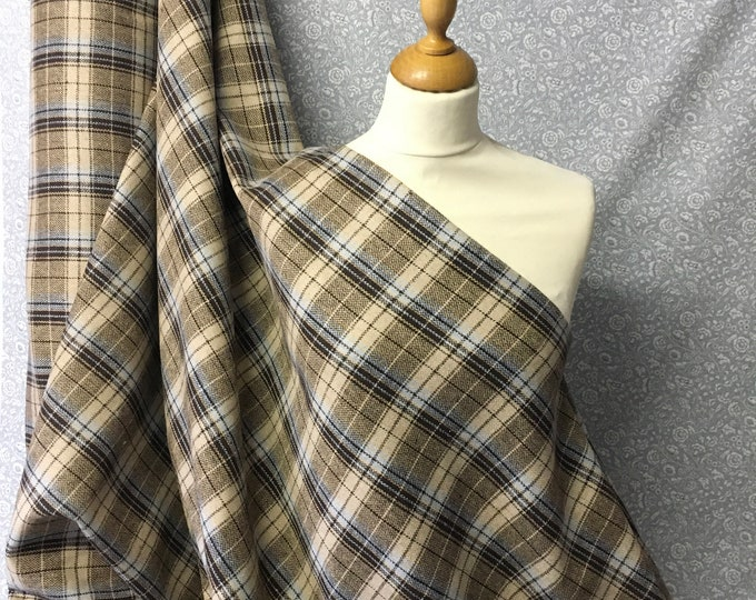 Genuine Shetland wool fabric, Edinburgh check weave