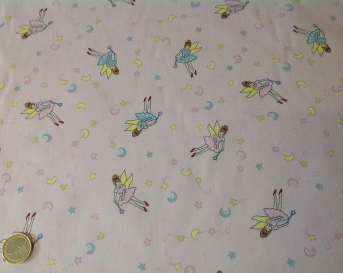 High quality cotton poplin, fairies or ballerinas on pink