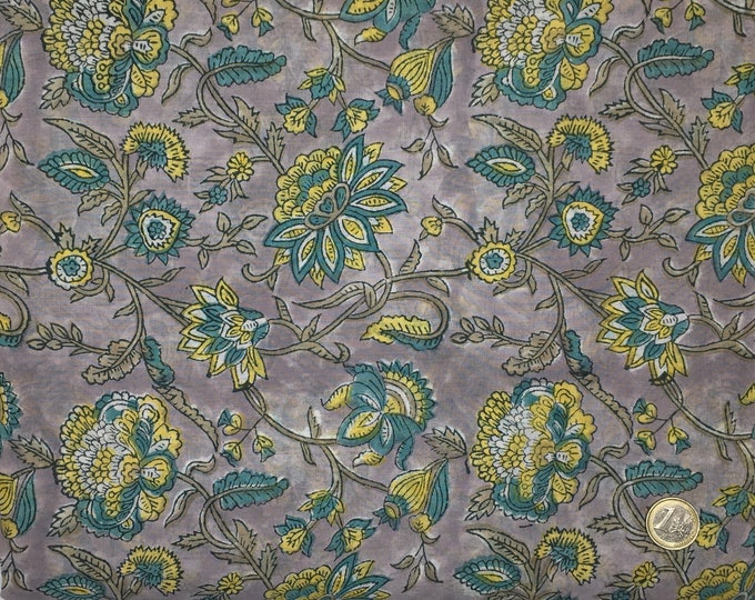 Indian block printed cotton voile, hand made. Grey Jaipur