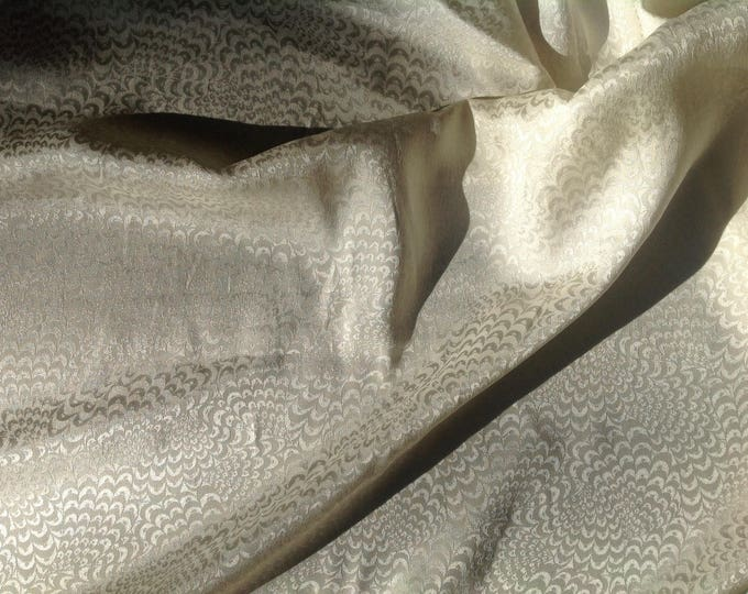 Pure silk satin fabric, Ivory wave weave print