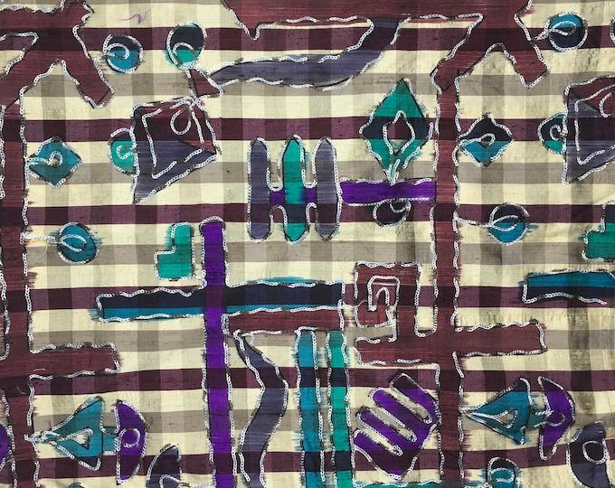 Pure dupion silk fabric, Embroidered tartan weave