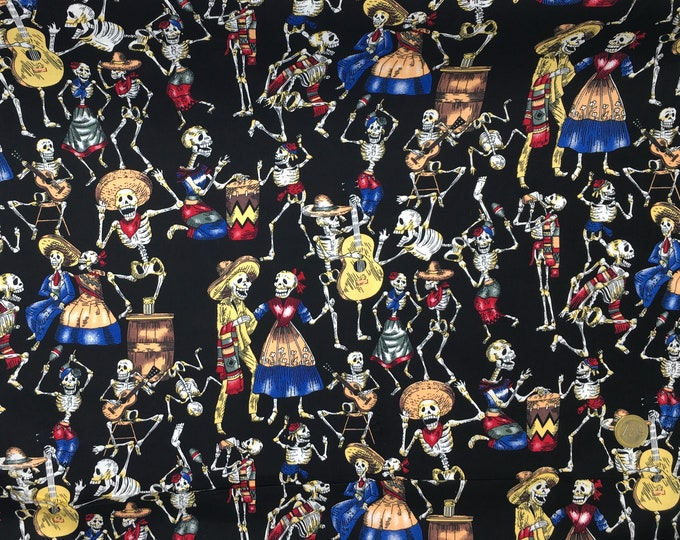 Cotton poplin with Mexicans skeletons on black