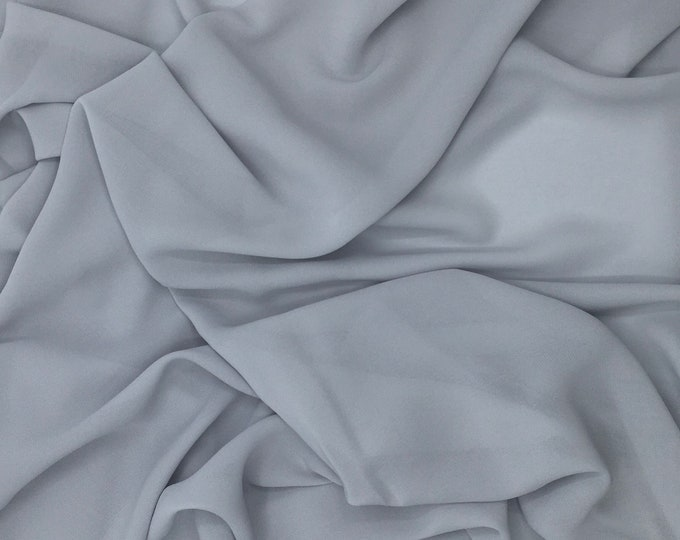 High quality Faux Silk Chiffon. Silver grey no47