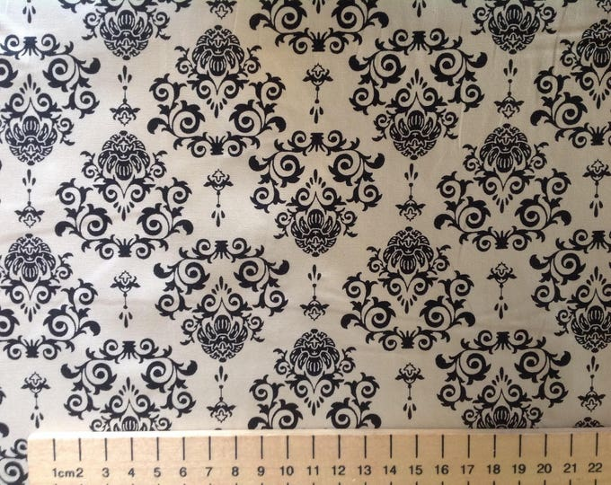 High quality cotton poplin printed in Japan, black/beige tapestry print