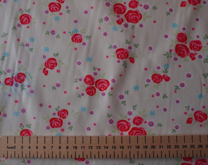 High quality cotton printed, roses on very light green