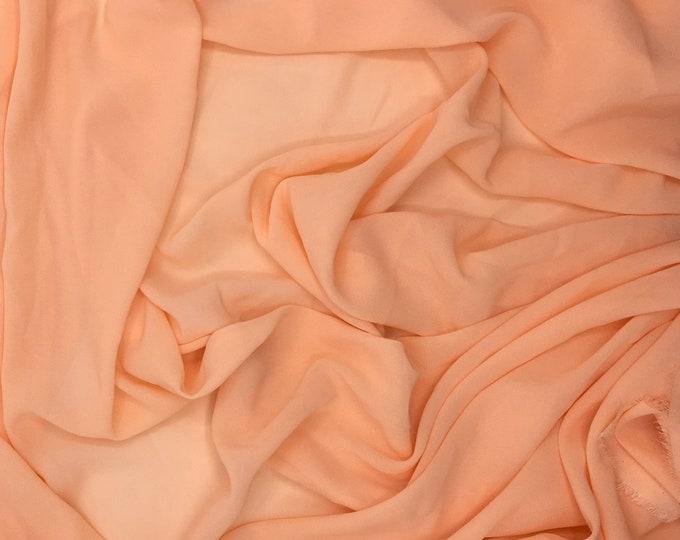 High quality Faux Silk Chiffon, very close to genuine silk chiffon. Color Peach No26