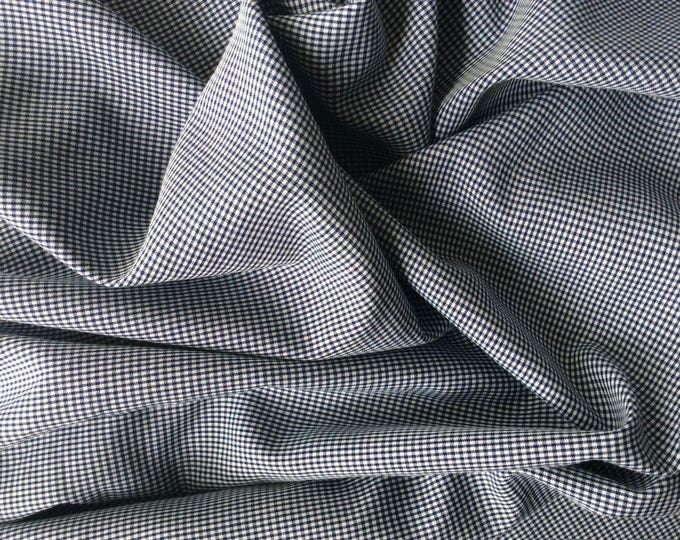 Cotton poplin, navy check weave