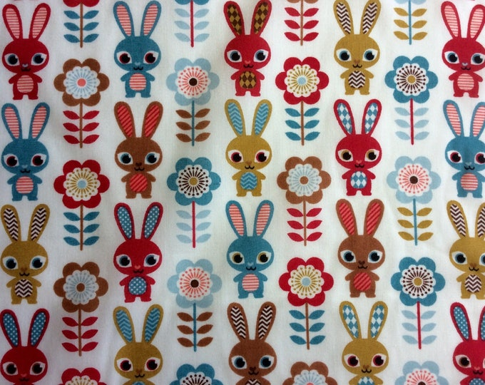 Polycoton poplin fabric, rabbits or bunnies
