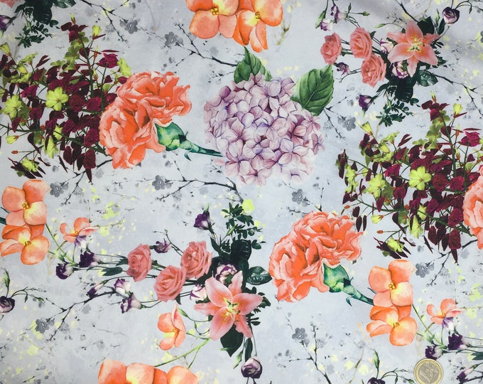 High quality cotton poplin, digital floral print on grey