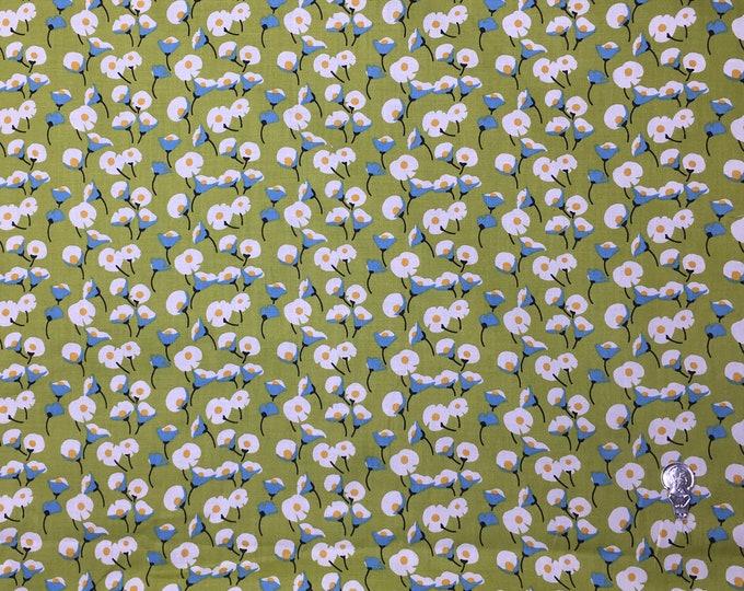 English Pima lawn cotton fabric, priced per 25cm. green lillies