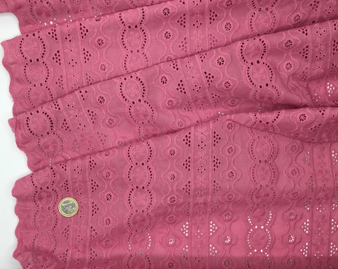 Old pink embroidery anglaise, eyelet or broderie anglais cotton fabric, scalloped edges