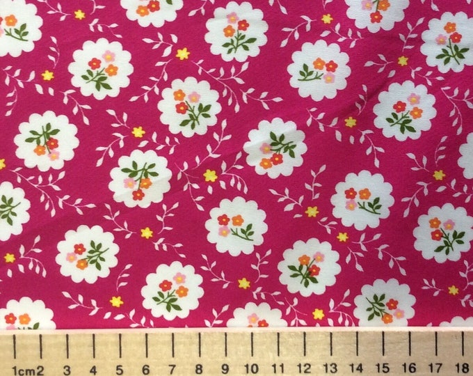 High quality cotton poplin, vintage floral print on hot pink