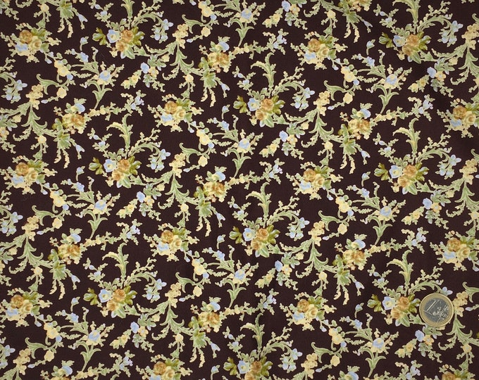 High quality cotton poplin, floral on brown