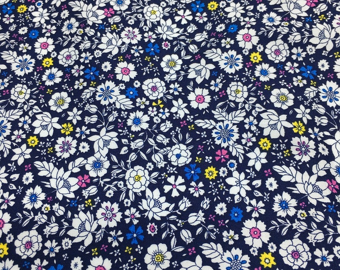 High quality cotton poplin with floral on navy, Heidi