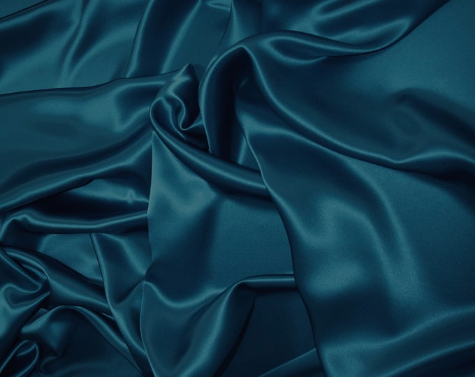 Teal blue nr21, High quality silky satin back, close to genuine silk crepe, backed crepe.