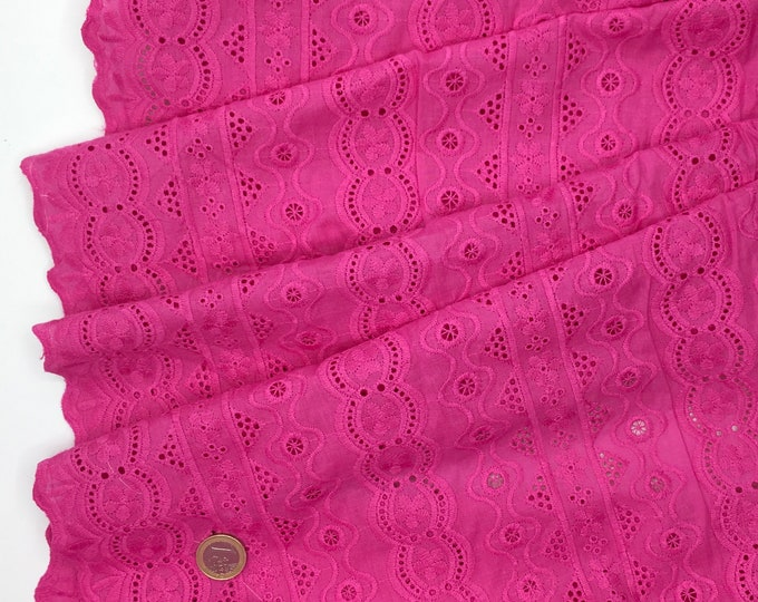 Hot pink embroidery anglaise, eyelet or broderie anglais cotton fabric, scalloped edges