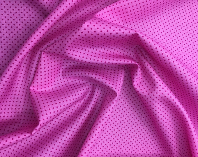 High quality cotton poplin. Hot pink polka dots on pink, nr37