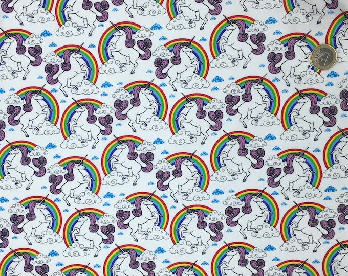 High quality cotton poplin, unicorns on white