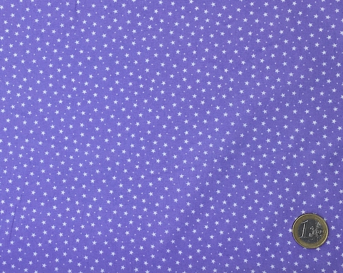 High quality cotton poplin, white stars on lavender