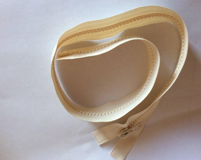 """Open end zipper, 55cm (22""""), cream"""