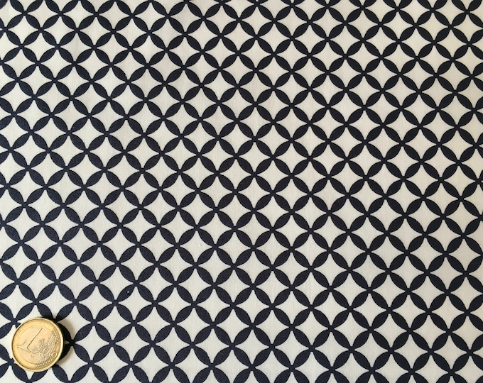 High quality cotton poplin dyed in Japan with navy geometrical print