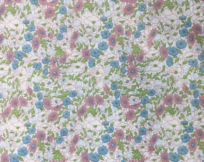 Tana lawn fabric from Liberty of London, exclusive petal and Bud, Aquarelle