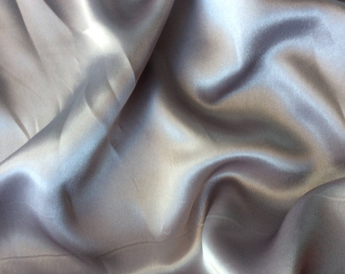 High quality silky satin, very close to genuine silk satin. Pearl grey No7