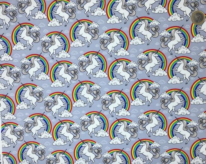 High quality cotton poplin, unicorns on grey