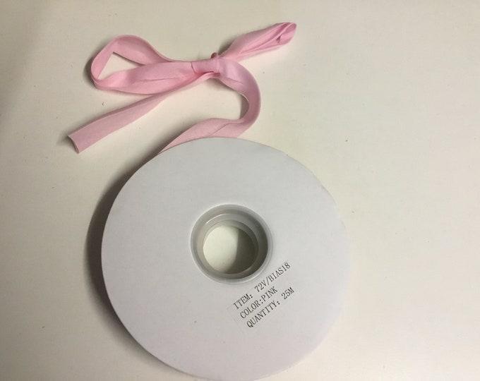 25m or 27 yards polycotton bias binding, pink