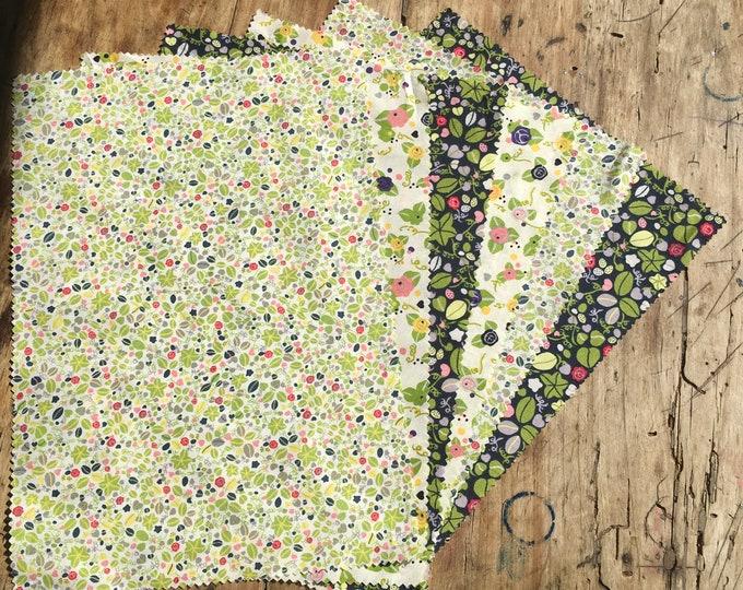 "Bundle of pima lawn fabric, 5 rectangles 8""x13"""