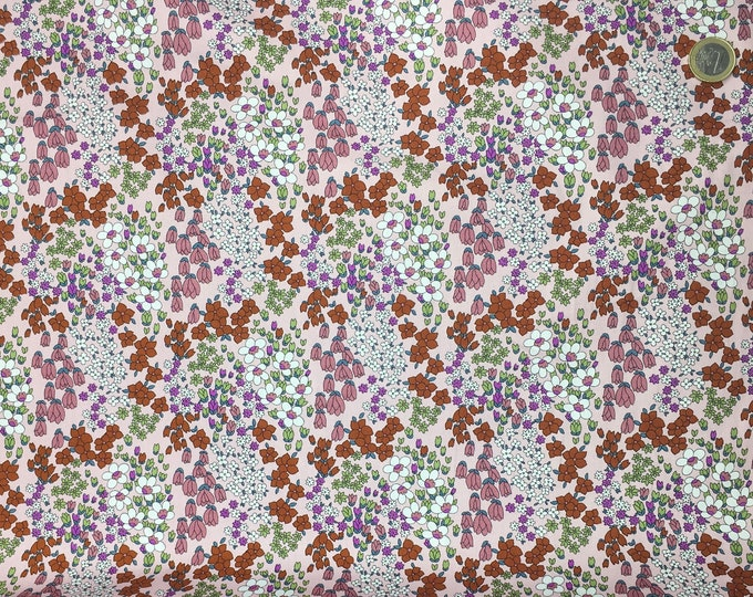 High quality cotton poplin dyed in Japan with floral on pink