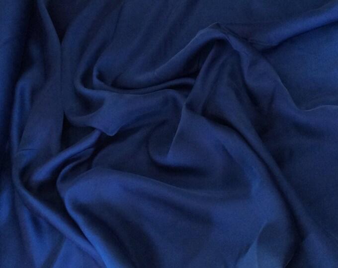 Genuine dark blue silk satin fabric backed crepe fabric