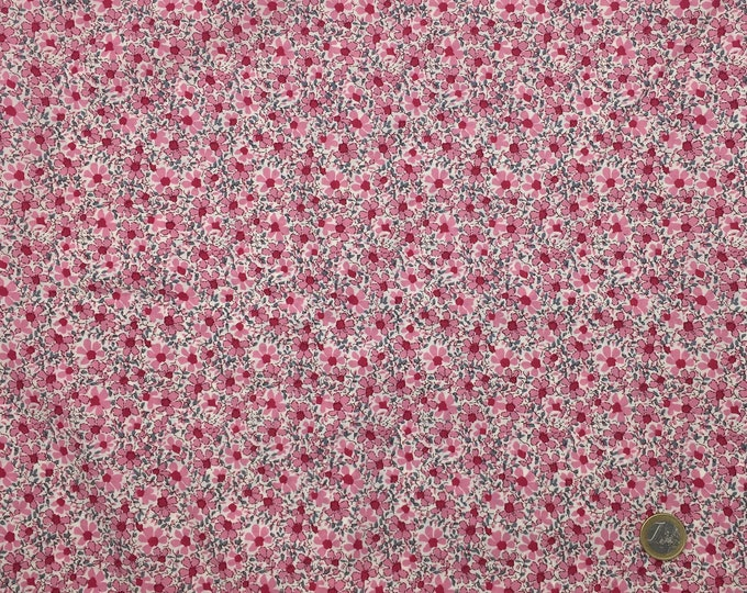 English Pima lawn cotton fabric, priced per 25cm, pink floral