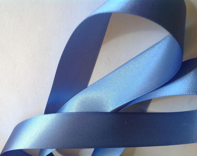 Double sided sateen ribbon, mid blue no90