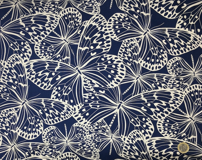 High quality cotton poplin, butterflies, navy and beige