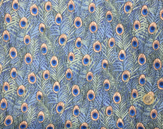 English Pima lawn cotton fabric, priced per 25cm. Summer feathers