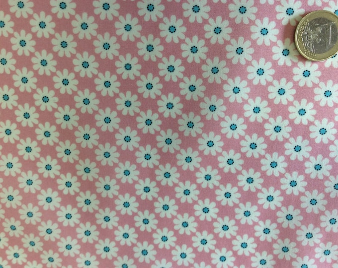 High quality cotton poplin, vintage floral print on pink