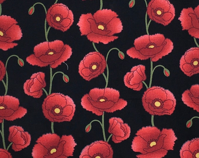 High quality cotton poplin dyed in Japan with poppies