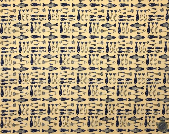 High quality cotton poplin, yellow and navy fish print