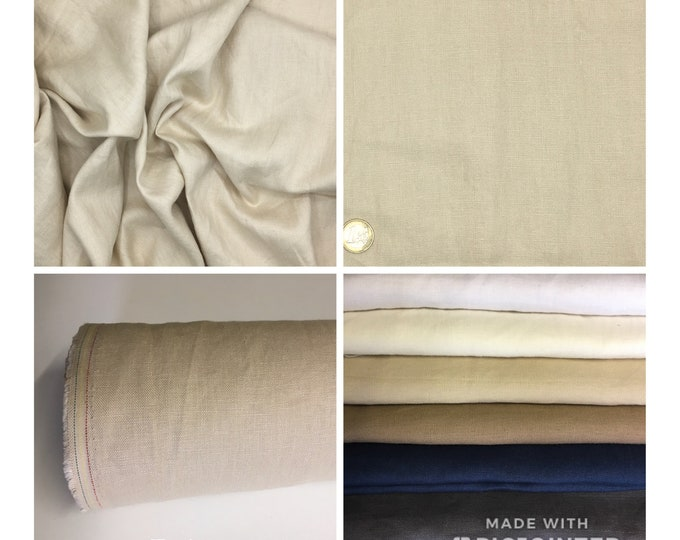 Heavy, washed linen, perfect for clothing and home accessories, beige