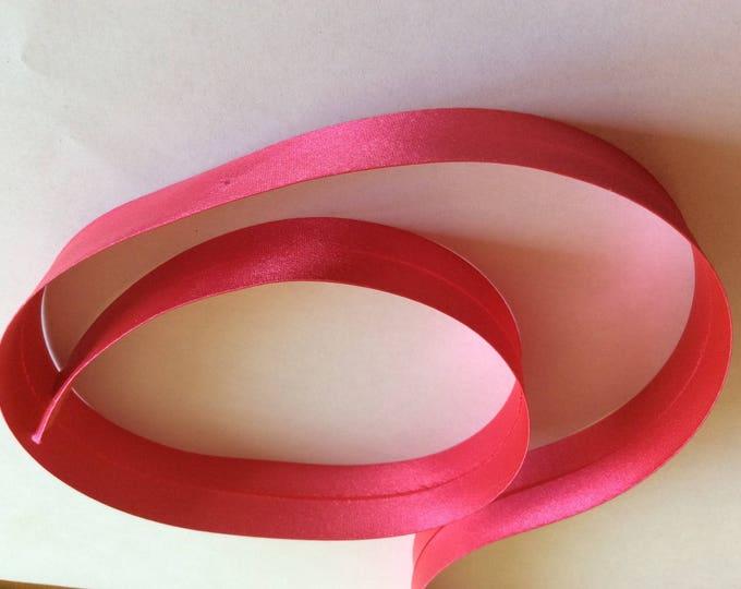 25mm silky sateen bias binding, pink fuchsia no25