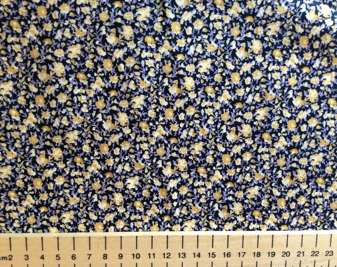 High quality cotton poplin printed in Japan, floral print on black